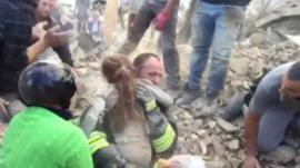 Girl pulled from rubble in Italian earthquake