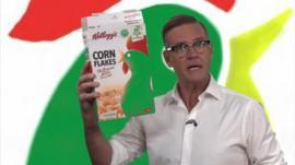 Aaron Heslehurst and Corn Flakes packet