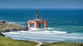 An oil rig has run aground in Scotland