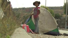 Girl and tent on Lesbos