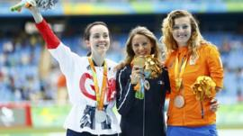 Stef Reid on podium after winning Paralympic silver