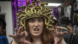 Woman dressed up as Medusa