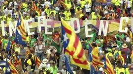 Thousands of people gathered in the Spanish city to show support for an independence referendum.