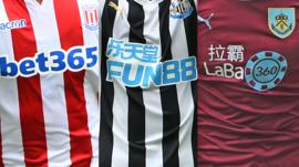 Football shirts with gambling company sponsorship logos on them