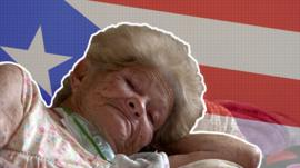 A stylized image of an elderly woman in bed with the Puerto Rican flag behind her
