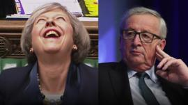 Composite image of Theresa May and Jean-Claude Juncker