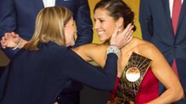Carli Lloyd wins women's football player of the year at 2016's Ballon d'Or awards.