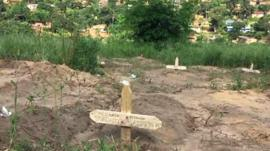 A makeshift prison graveyard in DR Congo