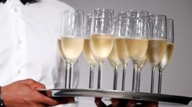 Champagne flutes on a tray