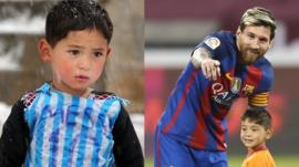 Young Afghan fan meets hero Messi