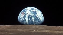 View of Moon and Earth from Apollo 11 spacecraft