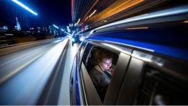 Car travelling at night
