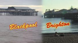 Blackpool and Brighton split screen