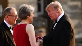 Theresa May with Donald Trump