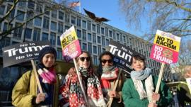 Protesters outside the US embassy in London