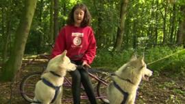 Shona and her huskies