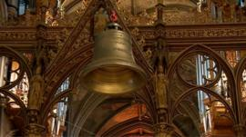 The bell being lifted into place at Worcester Cathedral