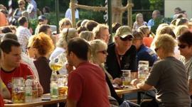 Drinking in a Munich biergarten
