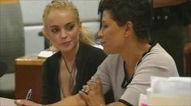 Lindsay Lohan and her lawyer Shawn Chapman Holley