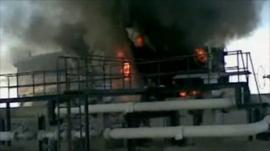 Oil refinery on fire in Libya