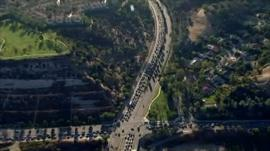Traffic queues in San Diego due to power outage