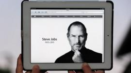 iPad showing Apple's tribute to Steve Jobs