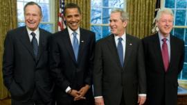 Presidents George H W Bush, Obama, George W Bush and Clinton