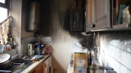 The kitchen after the fire
