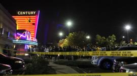 Police tape around the Century 16 cinema in Aurora, Colorado
