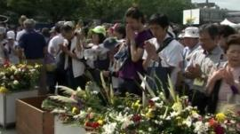 People attending the ceremony to mark 67th anniversary of the Hiroshima bombing