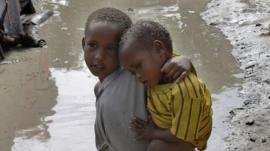 Displaced Somali children
