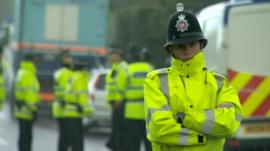 Police officer at the scene in Greater Manchester