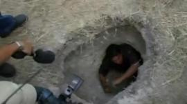 Man inside tunnel outside Piedras Negras prison in Mexico
