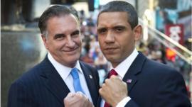 Romney and Obama impersonators