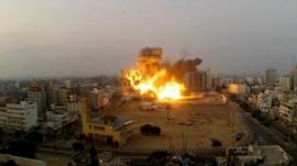 A missile strike on the Gaza landscape