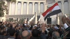 People gathered in front of Egypt's Supreme Court building in Cairo