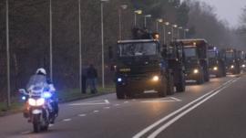 Patriot missiles loaded on trucks en route to Turkey