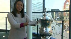 Leah holds the FA Cup