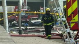 Fireman at scene of helicopter crash