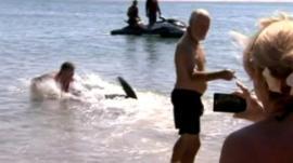 Paul Marshallsea with shark (left)