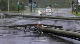 Damaged telegraph poles