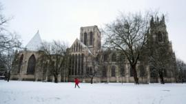 Snow-covered York Minster