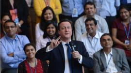 Prime Minister David Cameron holds a Q&A session with Unilever employees at their headquarters in Mumbai, India