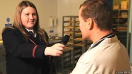 Student doing radio interview