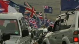 Falkland Islanders displaying flags on cars