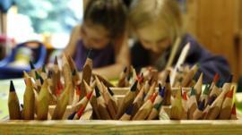 Children drawing at a nursery school