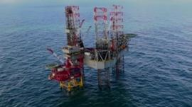 The Babbage platform and the Ensco 100 drilling rig