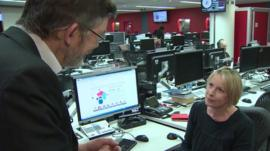 Nick Higham in the newsroom with the BBC's Susanna Cooper