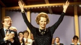 Margaret Thatcher at the 1983 Conservative Party conference