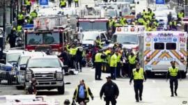 Police clear area around finish line of 2013 Boston Marathon